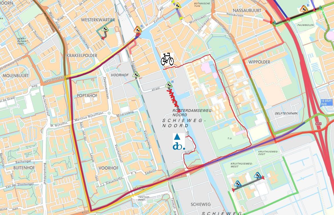 Road closure coming from Delft City center Delfts Bleau